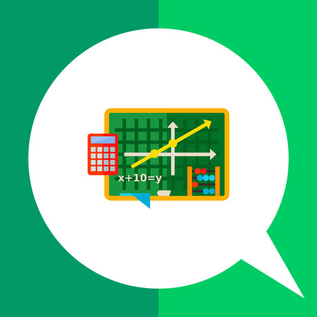 equation: Multicolored vector icon of green blackboard with graph and equation, abacus and calculator representing algebra