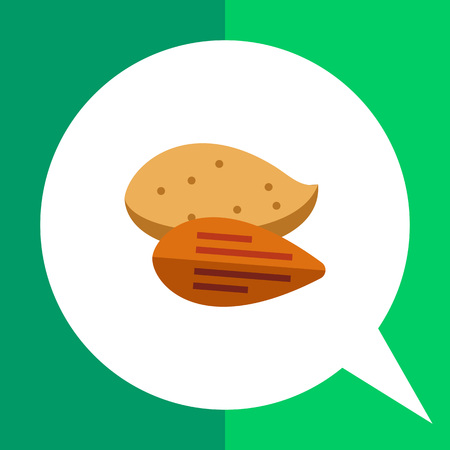 Multicolored vector icon of peeled almond and one in nutshell