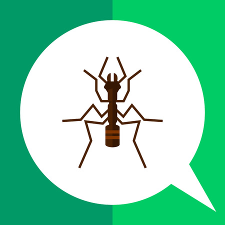 mandibles: Multicolored vector icon of ant, top view