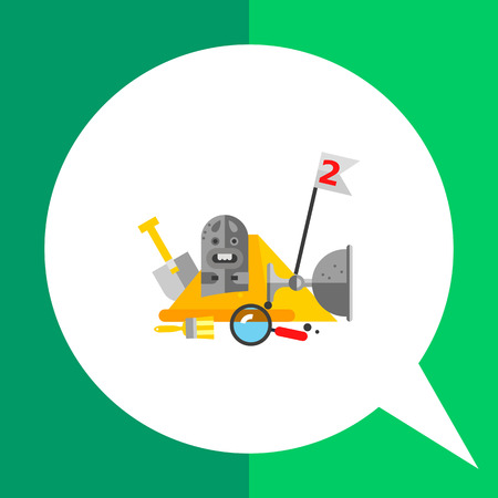 idol: Multicolored vector icon of stone idol and bowl, spade, brush and loupe on background of Egyptian pyramid representing archeology concept