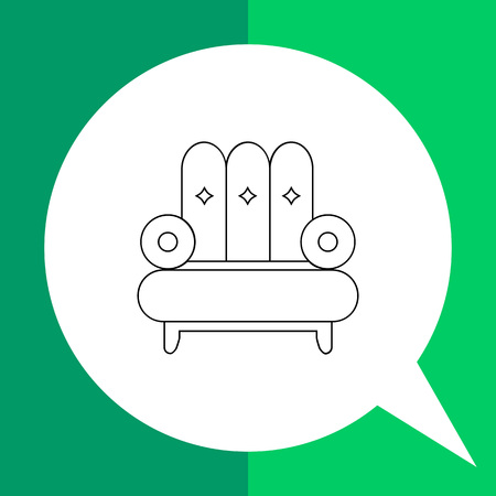 comfortable: Armchair vector icon. Line illustration of comfortable armchair