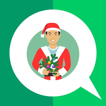 asian man smiling: Male character, portrait of smiling Asian man wearing Santa costume, holding Christmas tree
