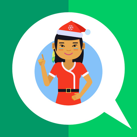 santa costume: Female character, portrait of Asian teenage girl wearing Santa costume