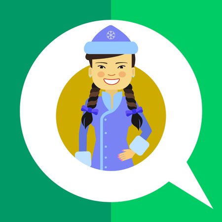 blue smiling: Female character, portrait of smiling Asian woman wearing blue fancy dress with hat Illustration