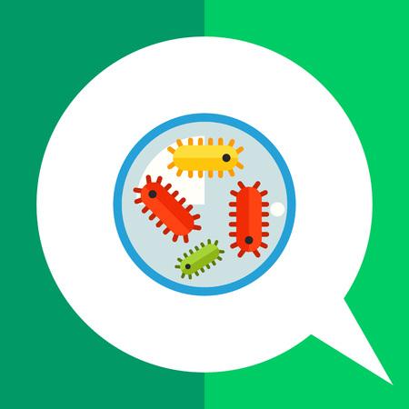 flagella: Multicolored vector icon of bacteria flagella in petri dish