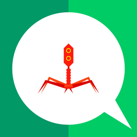 causative: Bacteriophage flat icon. Multicolored vector illustration of bacterial virus Illustration