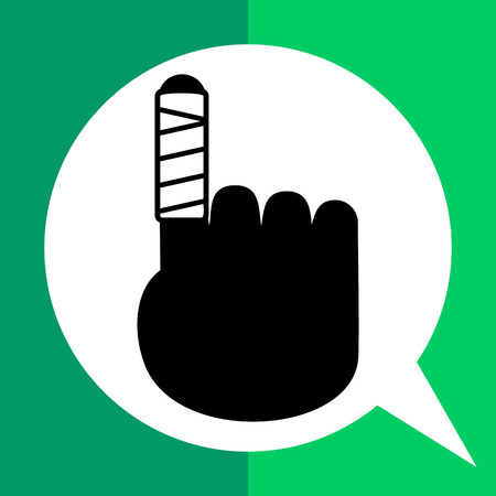 bandaged: Bandage simple icon. Vector illustration of bandaged finger