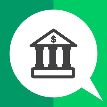 porch: Icon of bank building facade with dollar sign