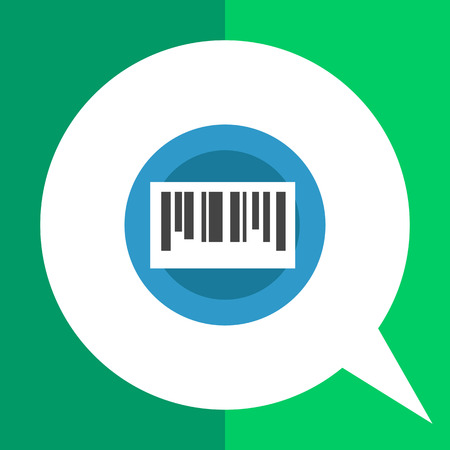 Vector circle blue icon with bar code, isolated on white