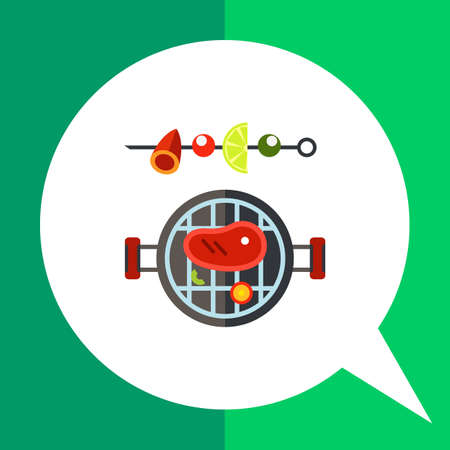 shish: Multicolored vector icon of barbeque and shish kebab on skewer Illustration