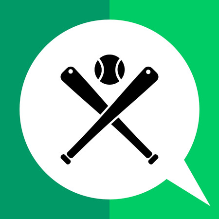 pitching: Monochrome vector icon of two baseball bats and ball