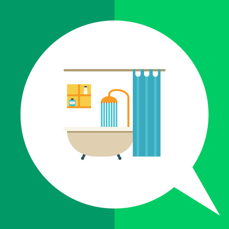 douche: Icon of bathroom interior including bathtub, shower, shower curtain and shelves Illustration
