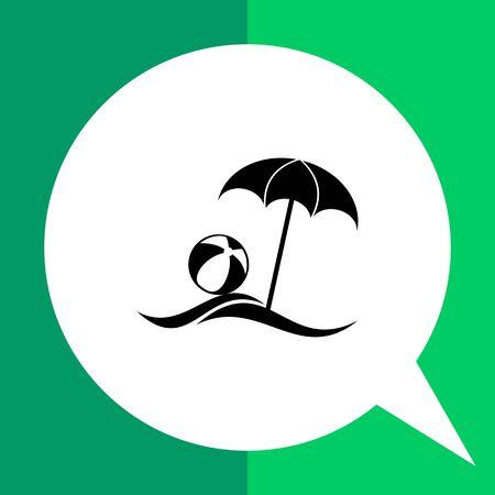 to spend the summer: Monochrome vector icon of sea beach with sun umbrella and beach ball Illustration