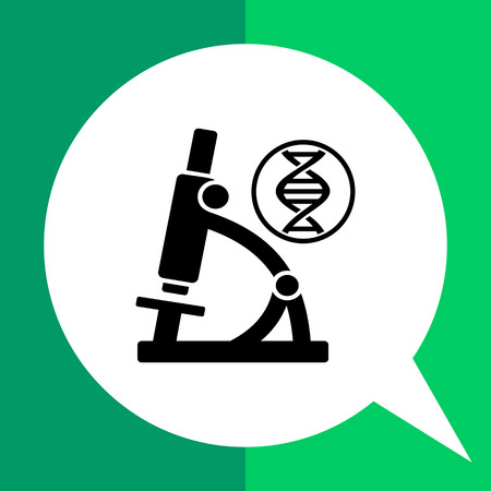 dna sequencing: Monochrome vector icon of DNA molecule and microscope representing biology concept Illustration