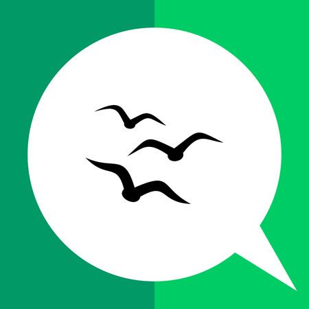 aloft: Monochrome vector icon of three seagull silhouettes, representing birds concept