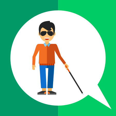 unable: Multicolored flat icon of blind man with cane