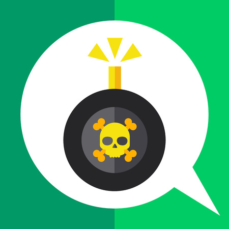 detonating fuse: Multicolored vector icon of bomb with danger sign and burning wick