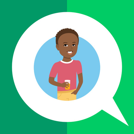 african american boy: Male character, portrait of smiling African American boy holding glass of juice Illustration