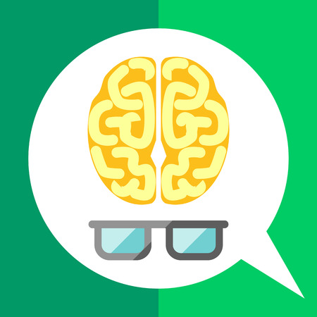 brainy: Icon of brain with glasses Illustration