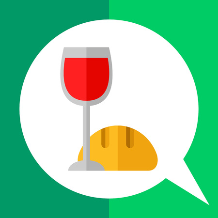 santa cena: Icono de los símbolos rituales cristianos, una copa de vino tinto y pan