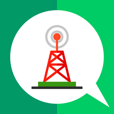 broadcast: Broadcast vector icon. Multicolored illustration of radio and television tower