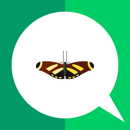feeler: Multicolored vector icon of brown butterfly with yellow stripes and spots