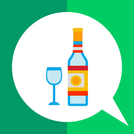 corked: Multicolored vector icon of corked bottle of vodka and glass