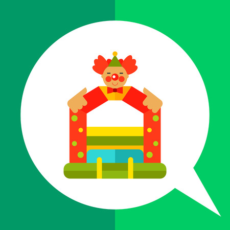 clown face: Multicolored vector icon of bouncy castle with clown face on top