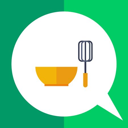 whisk: Multicolored vector icon of bowl and whisk Illustration