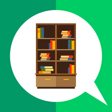 bookcase: Multicolored vector icon of bookcase with books stacks on shelves