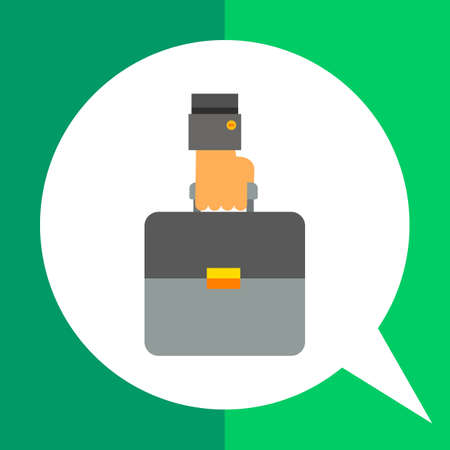brief: Business case icon. Multicolored vector illustration of hand carrying brief case