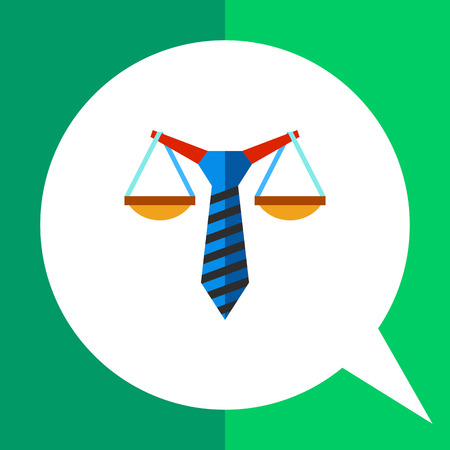 balancing: Multicolored vector icon of stylized scales balancing on tie representing business law concept