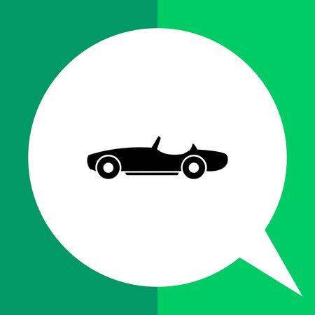 cabriolet: Cabriolet flat icon. Black vector illustration of car