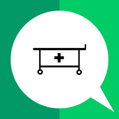 carrying the cross: Cart for cure simple icon. Black vector illustration of cart with medical cross for transportation of cure