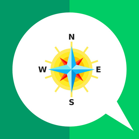 cartography: Multicolored vector icon of compass rose with eight directions representing cartography concept