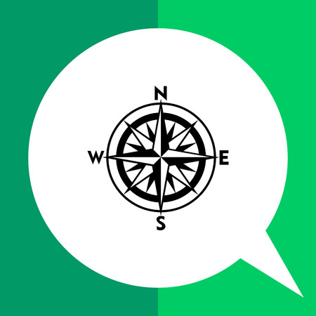 cartography: Monochrome vector icon of compass rose with sixteen directions representing cartography concept