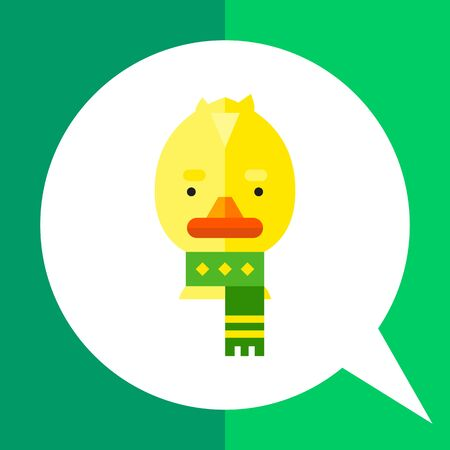 duckling: Multicolored vector icon of cute cartoon duckling wearing scarf Illustration