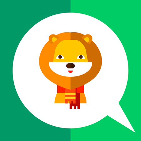 Multicolored vector icon of cute cartoon lion wearing scarf