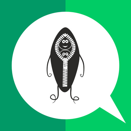 unzipping: Peapod simple icon. Black and white illustration of cartoon character of peapod Illustration