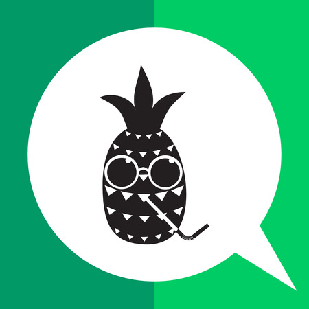 humoristic: Pineapple simple icon. Black and white illustration of cartoon pineapple character in glasses and with drinking straw Illustration