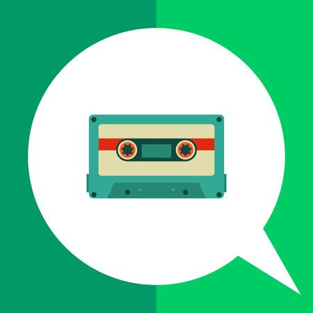 playback: Multicolored vector icon of retro cassette tape Illustration
