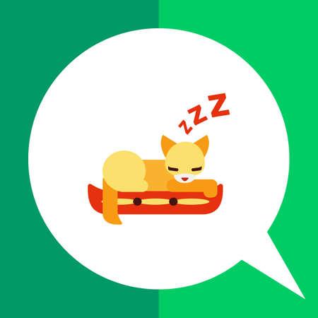 cat sleeping: Vector icon of cat sleeping on pillow
