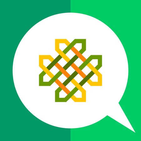 Multicolored vector icon of green Celtic ornament
