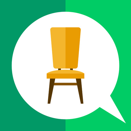 backrest: Multicolored vector icon of yellow chair with brown legs Illustration