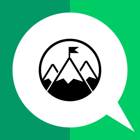 topics: Mountain peak with flag. Challenge, contest, inspiration. Challenge concept. Can be used for topics like business, gamification, management