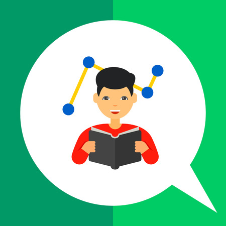 adaptation: Man reading book with graph in background. Innovation, idea, smart. Changes adaptation concept. Can be used for topics like business, management, marketing. Illustration