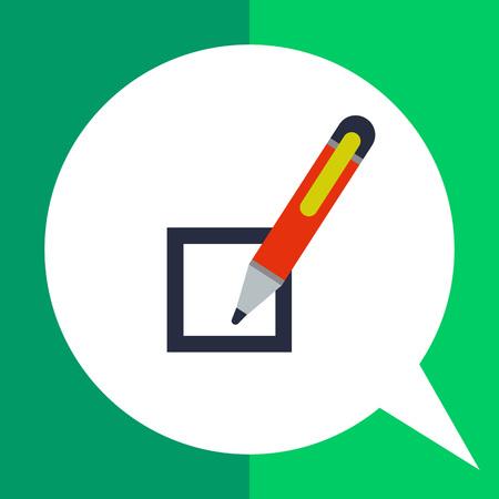 Multicolored vector icon of checkbox and pen
