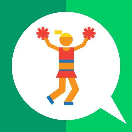 pom pom: Icon of teenage cheerleader girl holding pom poms