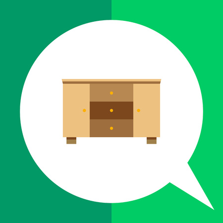 drawers: Multicolored vector icon of wooden chest of three drawers