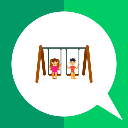 swinging: Multicolored vector icon of two children swinging in park Illustration